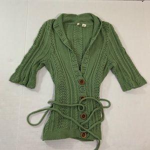 Anthropologie Moth Knit Tie Cardigan Sweater Top S